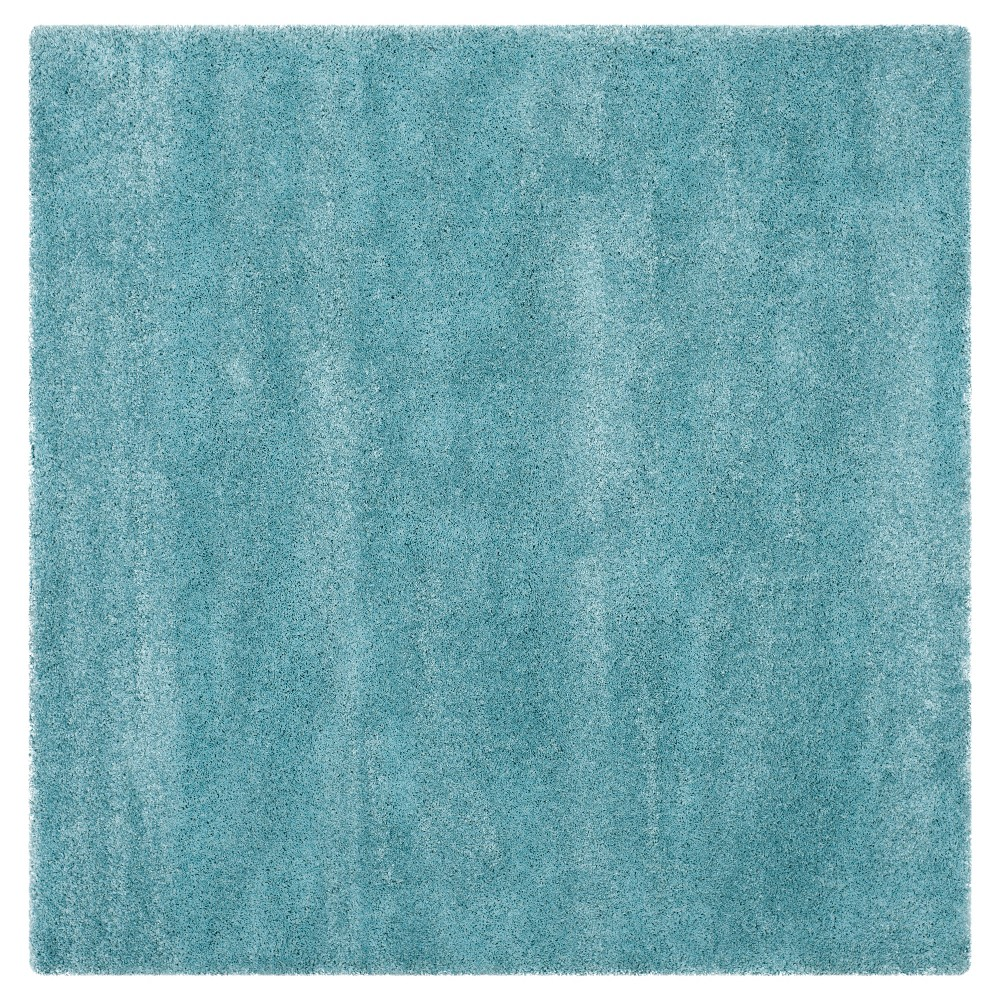 Aqua Blue Solid Shag Flokati Loomed Square Area Rug 7 39 X7 39 Safavieh
