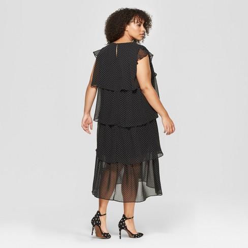 8d71d8adcf6 Women s Plus Size Polka Dot Short Sleeve Tiered Midi Dress - Who What Wear™  Black White