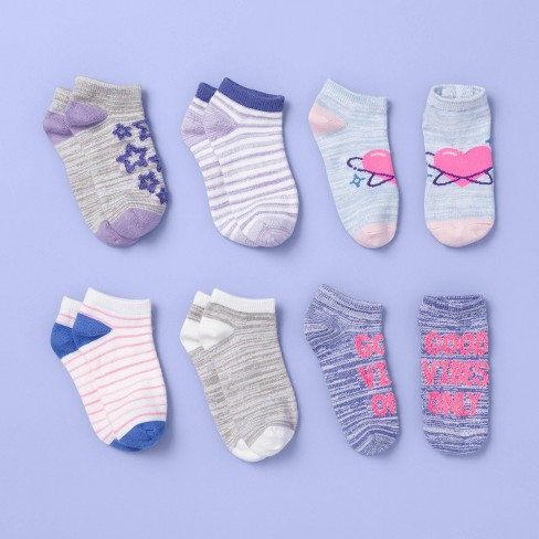 Girls' 6pk Fuzzy Yarn Super Soft No Show Socks - More Than Magic™ Purple  - image 1 of 2