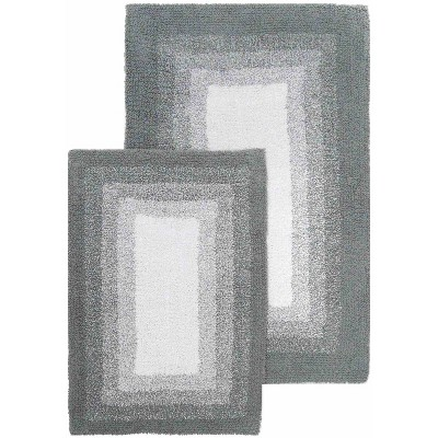 2pc Whitney Ombre Reversible Bath Rug Set Gray - Chesapeake