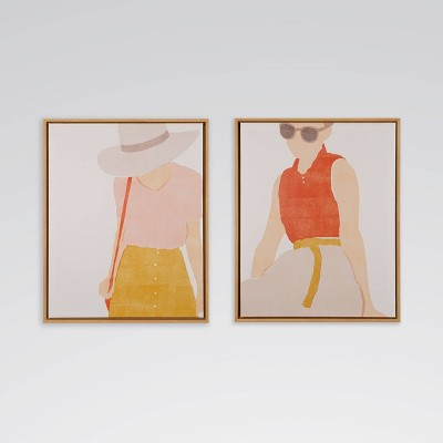 "(Set of 2) 17"" x 21"" Feminine Outfits Framed Printed Canvas Wall Art - Opalhouse™"