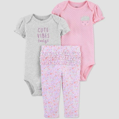 Baby Girls' Sheep Floral Top & Bottom Set - Just One You® made by carter's Gray/Purple/Pink Newborn