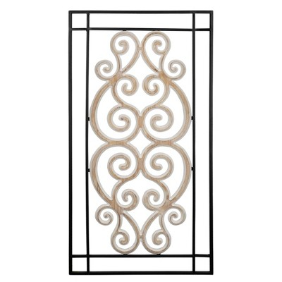 Metal and Wood Scroll Panel Wall Decor - Stratton Home Décor