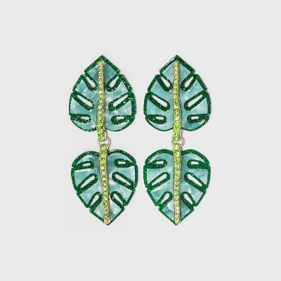 SUGARFIX by BaubleBar Monstera Leaf Drop Earrings - Green