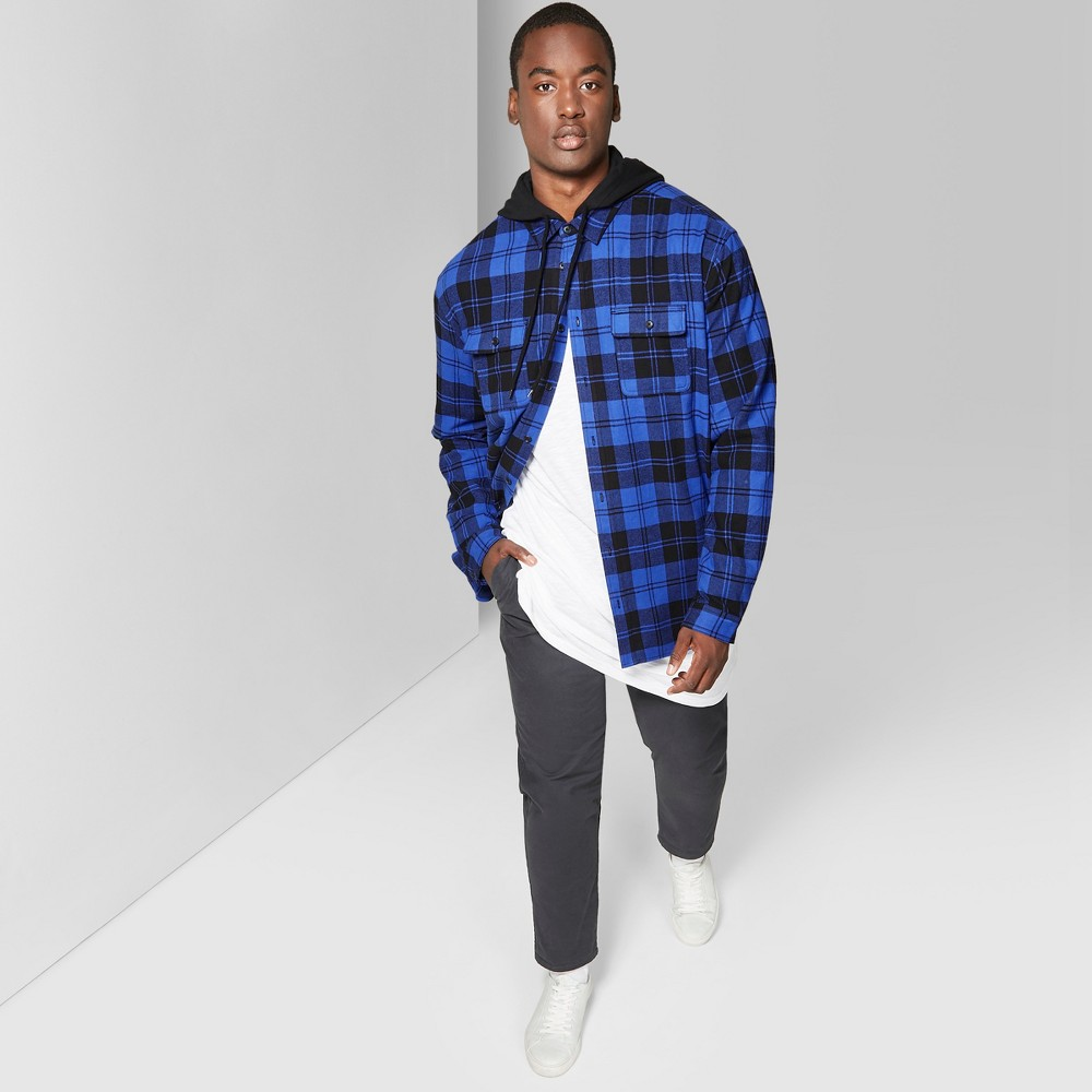 Men's Big & Tall Plaid Long Sleeve Detachable Hooded Button-Down Shirt - Original Use Blue Line 5XB