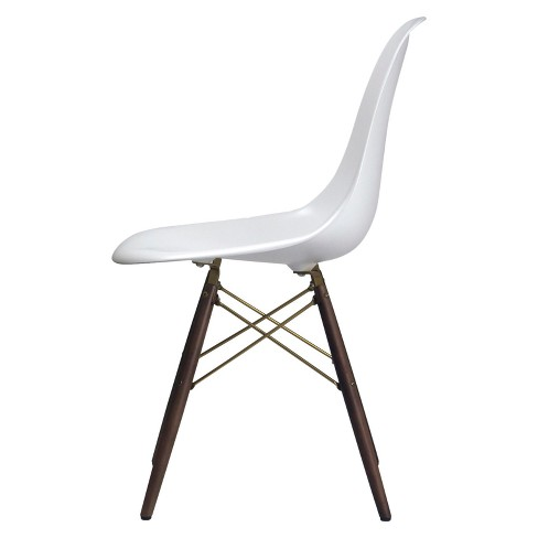 Isabelle Modern Classic Dining Chair with Champagne Finish Cross Base - White Matte and Walnut - Aeon - image 1 of 3