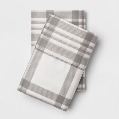 Standard 400 Thread Count Performance Printed Pillowcase Plaid Twill Gray - Threshold™