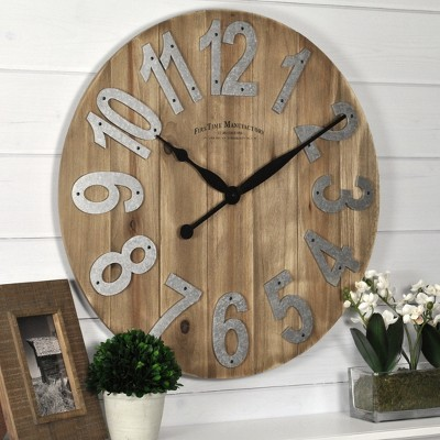 "22.5"" Farmhouse Slat Wood Wall Clock Tan - FirsTime & Co."
