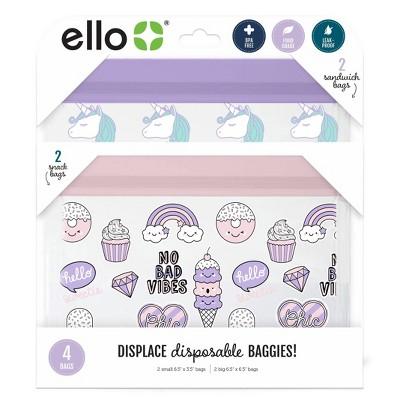 Ello 4pk Zip Food Storage Bags - Ice Cream/Unicorns