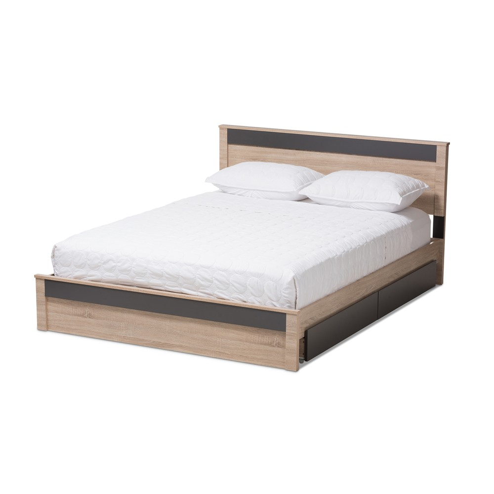 Jamie Modern and Contemporary Two - Tone Wood 2 - Drawer Storage Platform Bed - Queen - Brown - Baxton Studio, Gray