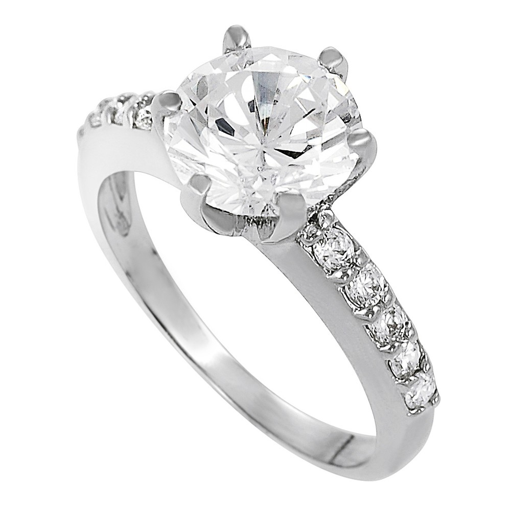 4/5 CT. T.W. Round-cut Cubic Zirconia Bridal Prong Set Ring in Sterling Silver - Silver, 8, Girl's
