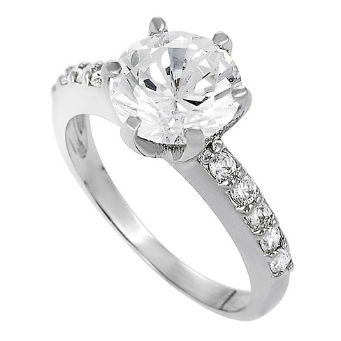 4/5 CT. T.W. Round-cut Cubic Zirconia Bridal Prong Set Ring in Sterling Silver - Silver - image 1 of 2