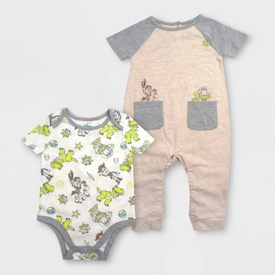 Baby Boys' Disney 2pc Toy Story Rompers - Beige/Gray 12M