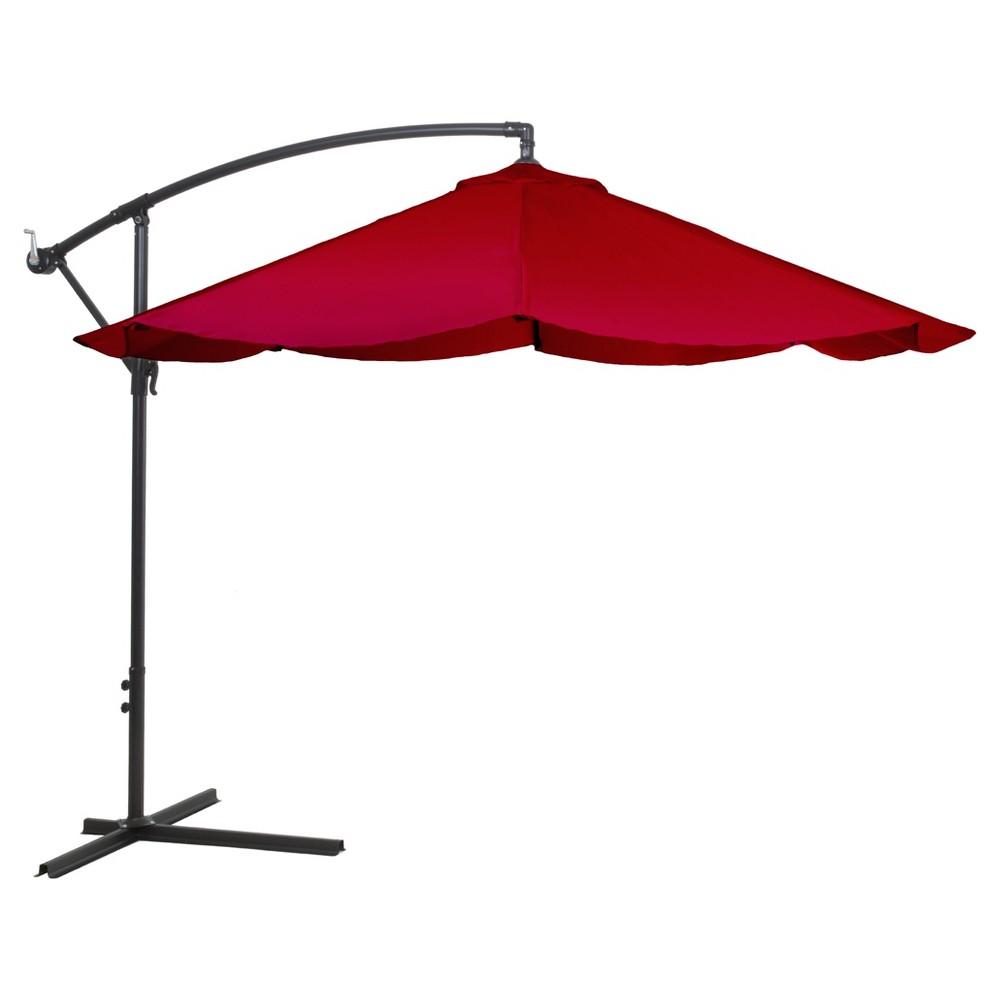 Image of Offset 10' Aluminum Hanging Patio Umbrella - Red - Pure Garden