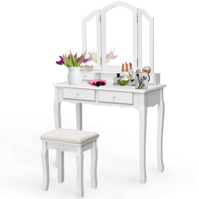 Costway Makeup Table Stool Set Tri Folding Mirror Vanity White\Black