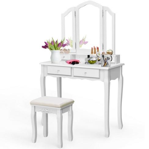 Costway Makeup Table Stool Set Tri, Triple Fold Dressing Table Mirror
