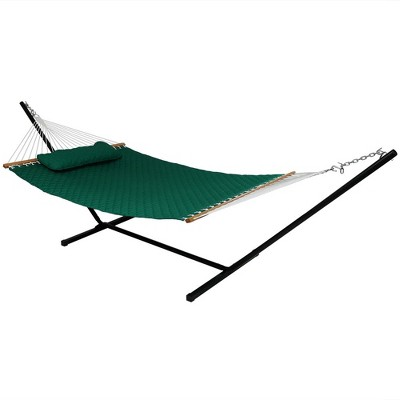 Sunnydaze 2-Person Heavy-Duty Quilted Design Double Hammock with Stand - 350 lb Weight Capacity - Green