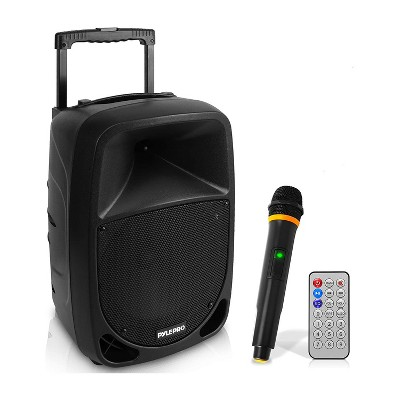 Pyle PSBT105A 1000W 10 Inch Bluetooth Portable Stereo Karaoke Speaker with UHF Wireless Microphone and Built In Rechargeable Battery