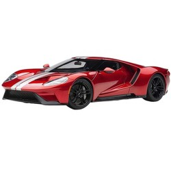 2017 Ford GT Liquid Red with Silver Stripes 1/18 Model Car by Autoart