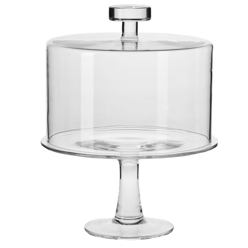 Image of Krosno Handmade Glass June Covered Cake Stand Set 11in, Clear