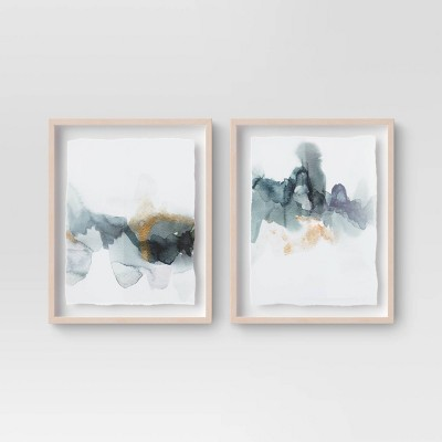 "(Set of 2)16"" x 20"" Blue and Gold Watercolor Framed print - Project 62™"