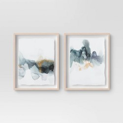 "(Set of 2) 16"" x 20"" Blue and Gold Watercolor Framed print - Project 62™"