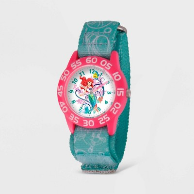 Girls' Disney Ariel Plastic Time Teacher Watch - Blue