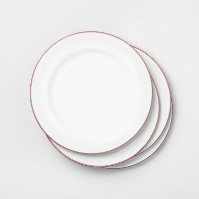 4pk Enamel Dusty Rose Rim Dinner Plate - Hearth & Hand™ with Magnolia