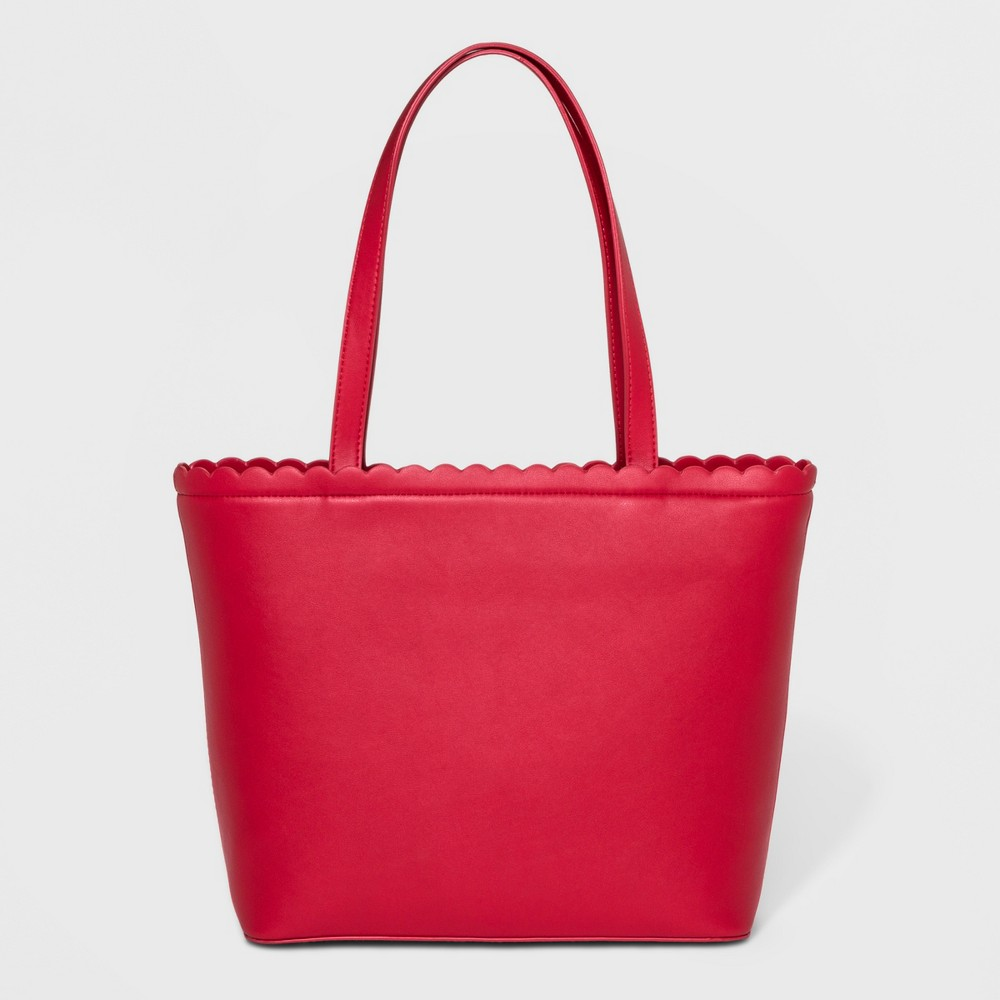 Scallop Tote Handbag - A New Day Red, Women's, Size: Small