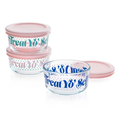 Pyrex 1 Cup 3pk Glass Round Treat Yo Self Food Storage Container