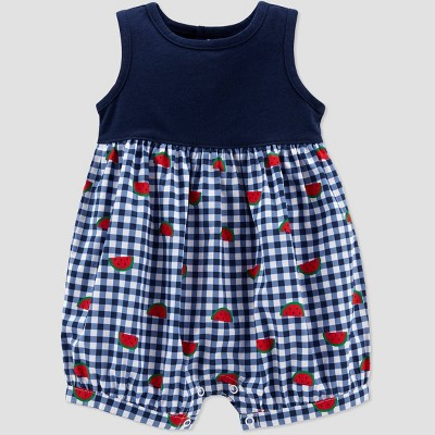 Baby Girls' Watermelon Gingham Romper - Just One You® made by carter's Navy