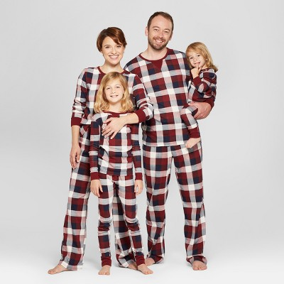 red plaid family pajamas collection