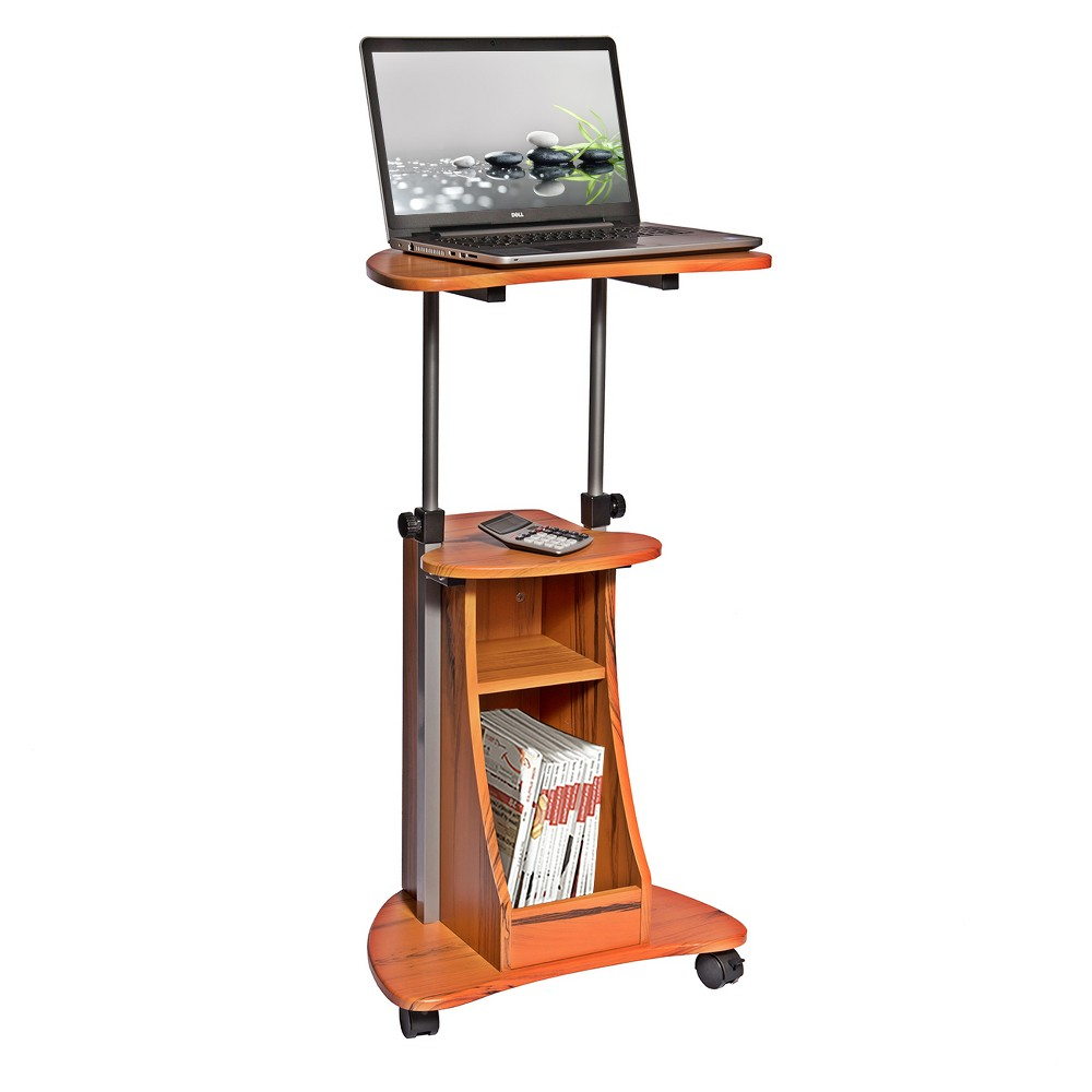 Mobile Notebook Computer Cart with Storage Wood Grain - Techni Mobili, Brown