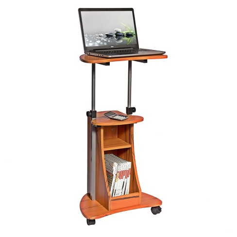 Mobile Notebook Computer Cart with Storage Wood Grain - Techni Mobili - image 1 of 8