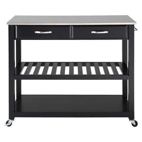 Stainless Steel Top Kitchen Cart Island With Optional Stool Storage
