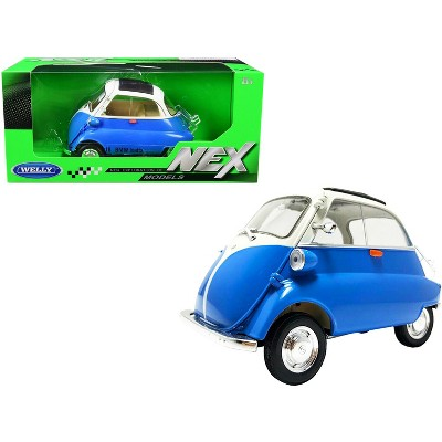 """BMW Isetta Blue and White """"NEX Models"""" 1/18 Diecast Model Car by Welly"""