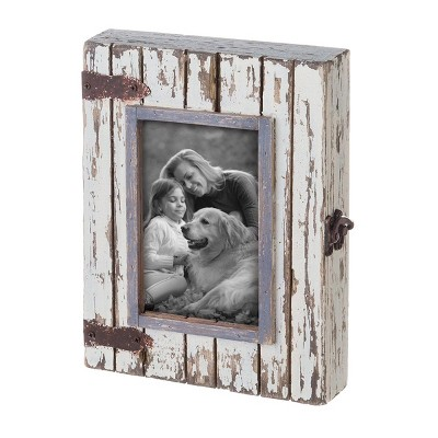 White 4 x 6 inch Decorative Distressed Wood Shadow Box Picture Frame - Foreside Home & Garden