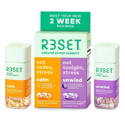 R3SET Botanical Stress & Anxiety Support Calm & Unwind Supplement Capsules Combo Pack - 28ct
