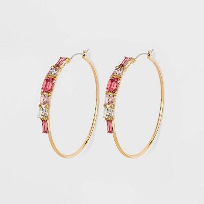 Hoop Earrings with Multi-Shape Rhinestones - A New Day™