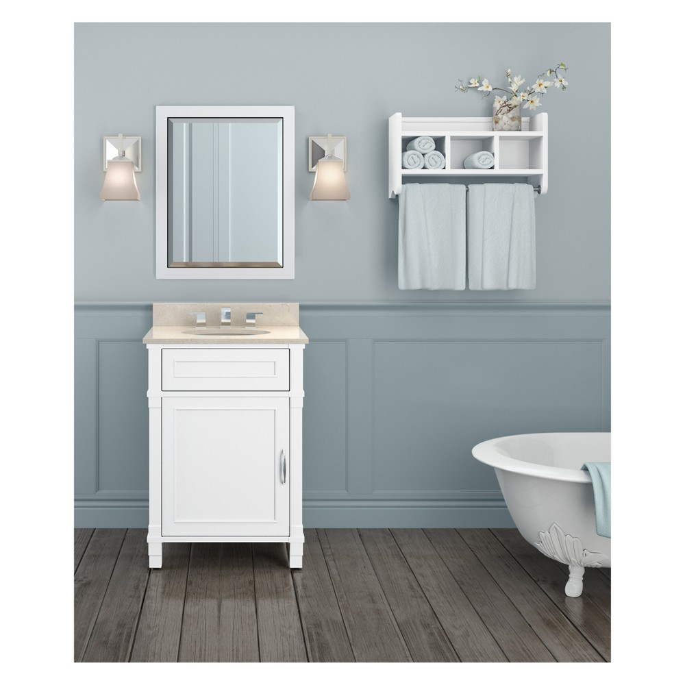 Williamsburg with Beige Marble Sink Top and Bath Storage Shelf and Vanity Mirror Set Bath Vanity Cabinet White 25 - Alaterre Furniture