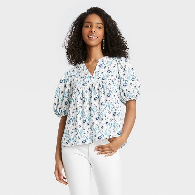 Women's Puff Elbow Sleeve Blouse - Universal Thread™ Floral