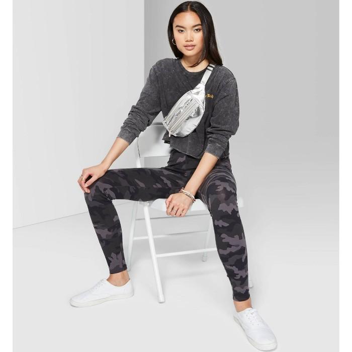 Women's Camo Print High-Rise Leggings - Wild Fable™ Gray - image 1 of 3