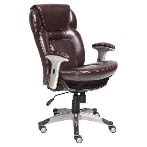 Back N Motion Health Wellness Managers Chair Brown Leather Serta