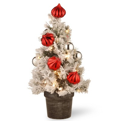2ft National Christmas Tree Company Pre-Lit Snowy Bristle Pine Artificial Christmas Tree with 35 Battery Operated LED Lights