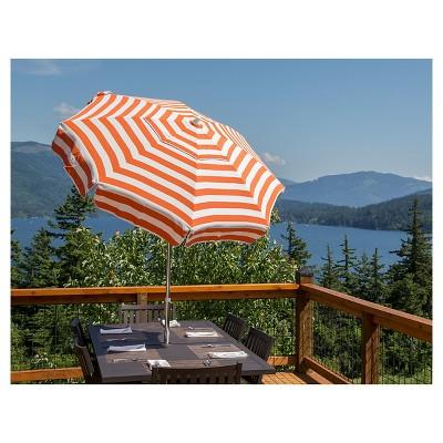 6u0027 Patio Italian Umbrella Acrylic Stripes   Orange And White   Parasol :  Target
