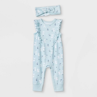 Baby Girls' Easter Bunny Romper with Headband - Cat & Jack™ Sky Blue