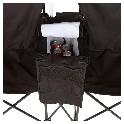Trademark Innovation Double Folding Camp And Beach Chair With Carrying Case Removable Umbrella Cooler Target