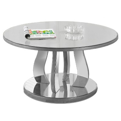 Coffee Table with Mirror- Brushed Silver - EveryRoom