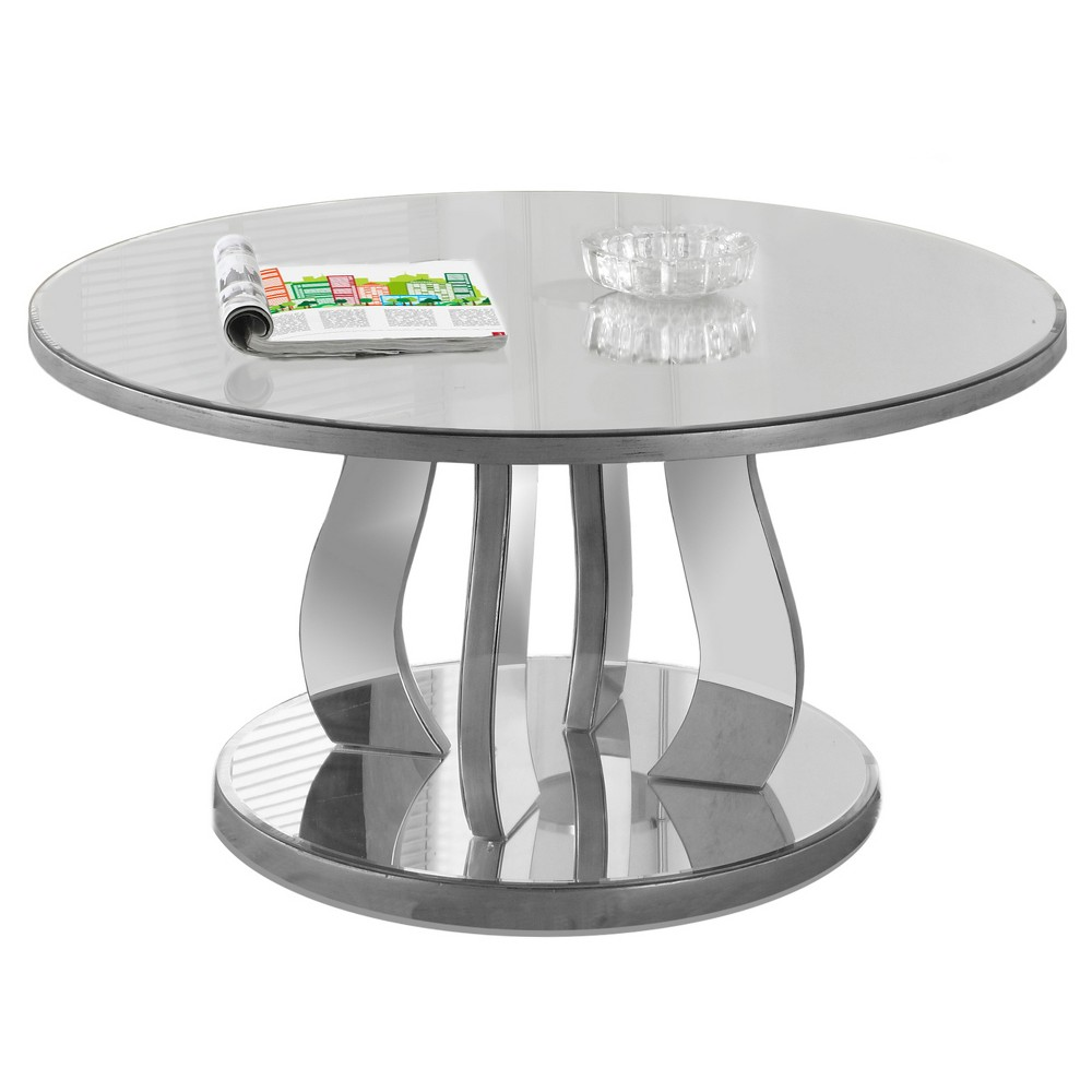 Compare Coffee Table with Mirror- Brushed Silver - EveryRoom
