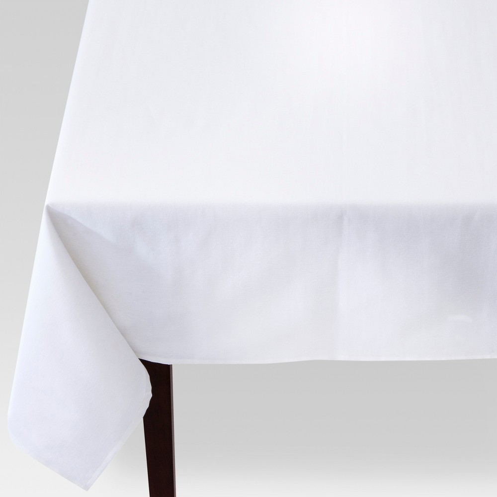 84x60 Solid Rectangle Tablecloth White - Threshold